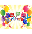 A Happy Birthday greeting with balloons and vector image
