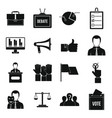 election voting icons set simple style vector image