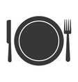 fork knife dish cutlery silhouette icon vector image