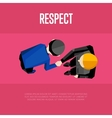 Respect banner Top view partners handshaking vector image