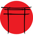 Silhouette of torii gate with japanese swords vector image