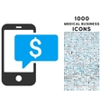 Money Phone SMS Icon with 1000 Medical Business vector image
