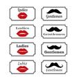 Ladies and gentlemen bathroom symbols lips vector image