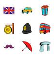 london icons set cartoon style vector image