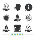 smile and hand icon water drop tick symbol vector image