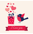 Valentine day with bird vector image