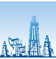 Oil rig silhouettes vector image