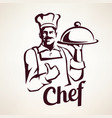 chef stylized portrait culinary and restaurant vector image