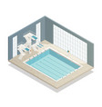 swimming pool indoor isometric composition vector image