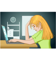 Tired young woman falls asleep at working place vector image