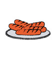 grilled sausages on a plate fast food vector image