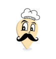 Chef mustache gentleman map pin locator - vector image
