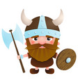 viking cartoon character with an ax and a shield vector image