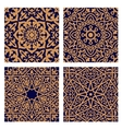 Arabic geometric seamless patterns with foliage vector image vector image