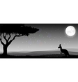 Silhouette a kangaroo the feeding in the bright vector image