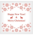banner or card with snowflakes and reindeer vector image
