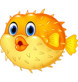 Cartoon puffer fish isolated on white background vector image