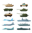 naval vehicles airplanes and different warships vector image