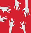 Paper Cut Hands Hands on Red Background Hands Set vector image vector image