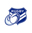 rugby ball flying with shield vector image