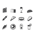 Silhouette food and drink icons 2 vector image