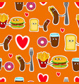 fast food love seamless emoticons vector image