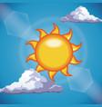 funny sun shine clouds sky light vector image