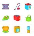 Home appliances icons set cartoon style vector image