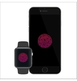 Security touch id in phone and smartwatch for vector image