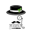 vape shop logo design with stylized smoking man vector image