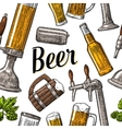 Seamless pattern beer tap class can bottle and vector image
