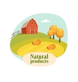 Landscape With Barn Field And Hay Stacks Farm vector image