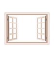 open window frame wooden design vector image