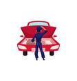 auto mechanic repairman looking at car engine vector image