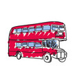 british red bus hand drawn icon vector image