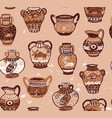 collection of amphora and vase wih cartoon animals vector image