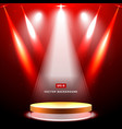 gold stage with spotlight and star on red vector image