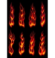 Tribal red flames icons vector image