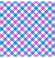 White pink blue check plaid fabric texture vector image