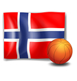 The flag of Norway at the back of the ball vector image vector image