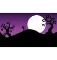 Halloween zombie walking in hills Silhouette vector image