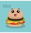 cartoon burger food fast facial expression design vector image