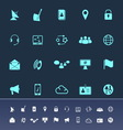 Communication color icons on navy background vector image