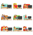 happy people watching television sitting on the vector image