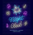 night club neon banner dark brick wall background vector image