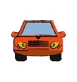 Orange car vehicle transportation front view vector image