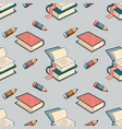 seamless pattern with book and pencil vector image