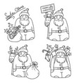 set of with santa claus and reindeer vector image