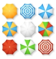 Beach sun umbrellas top view icons vector image