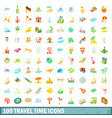 100 travel time icons set cartoon style vector image